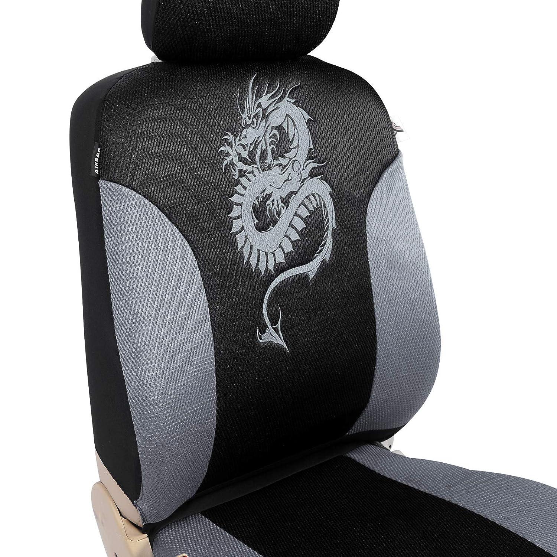WOLTU AS7211 Couverture de si/ège de voiture housses de si/ège universelle polyester,Motif dragon,Noir Gris