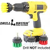 4 Piece Drill Brush Small Diameter Cleaning Brushes for Use on Carpet, Tile, Shower Track, and Grout Lines