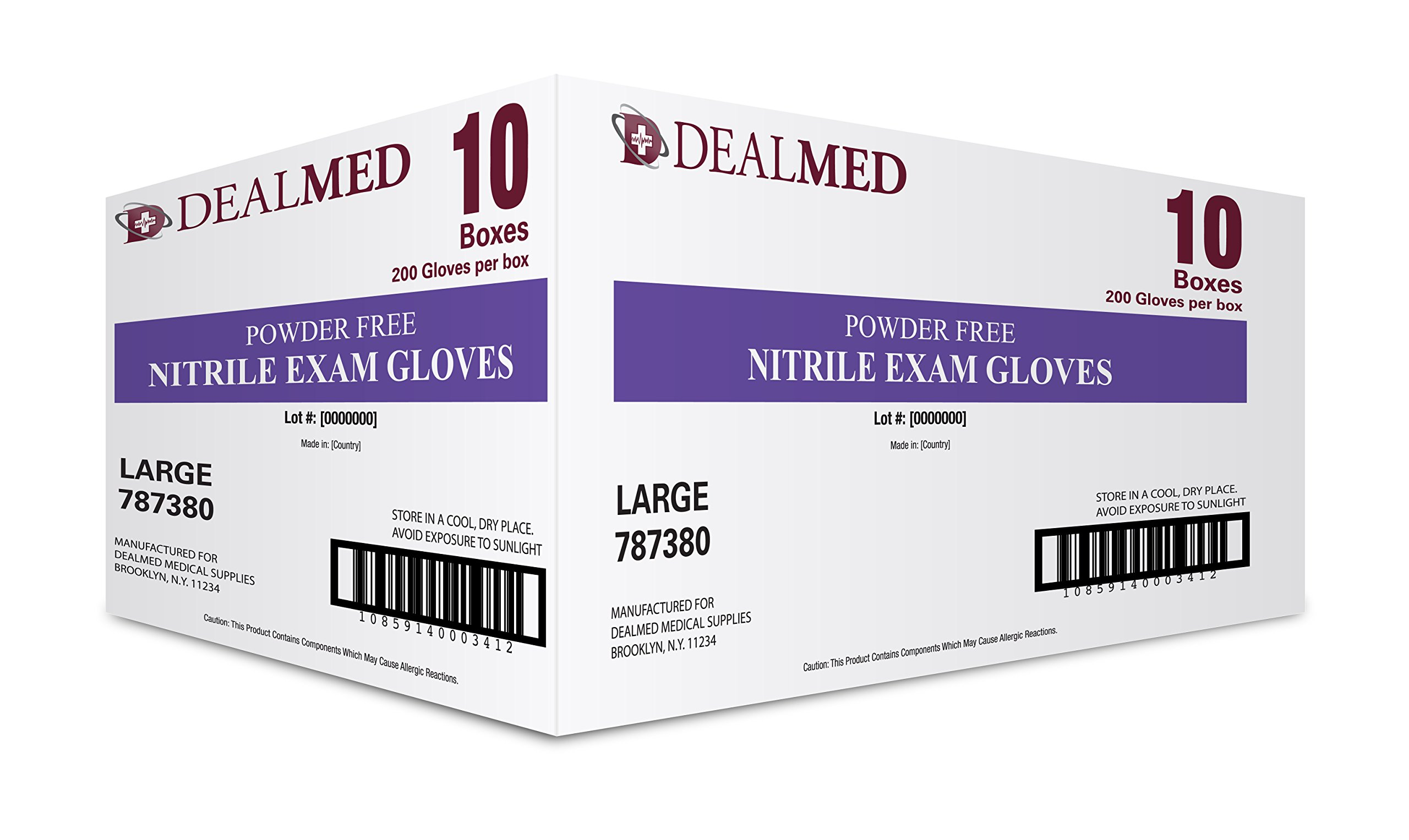 Disposable Nitrile Exam Powder Free Gloves, Case of 10 Boxes, 200 Count Each, Size Large