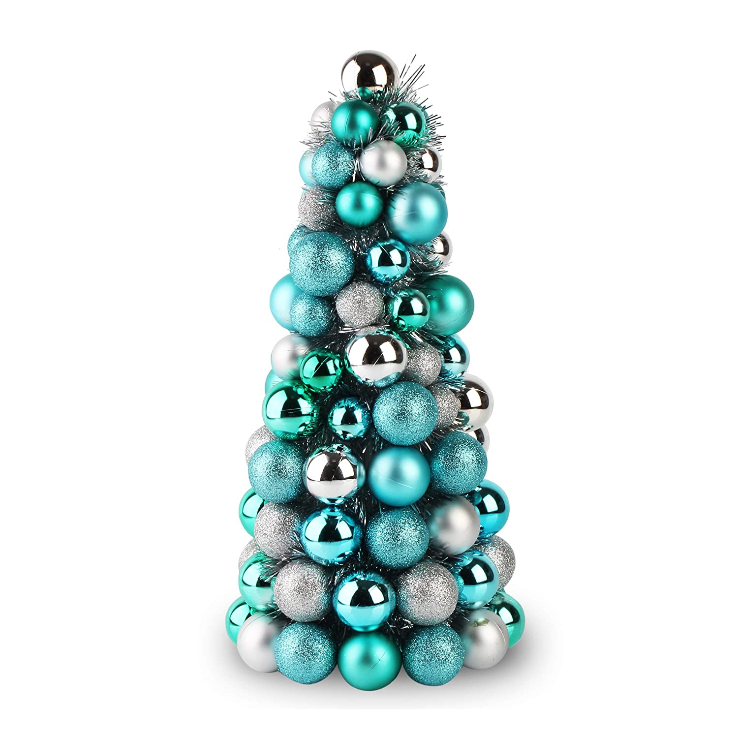 Costyleen 16 Inch Christmas Ball Tree Fireplace Table Decoration Home Party Decorative Ball Ornaments Xmas Tree Decors Blue Silver