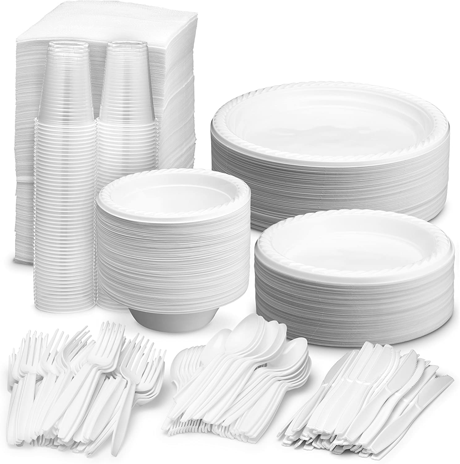 """white party ware light weight high quality 100 Disposable 9/"""" Paper PLATES"""