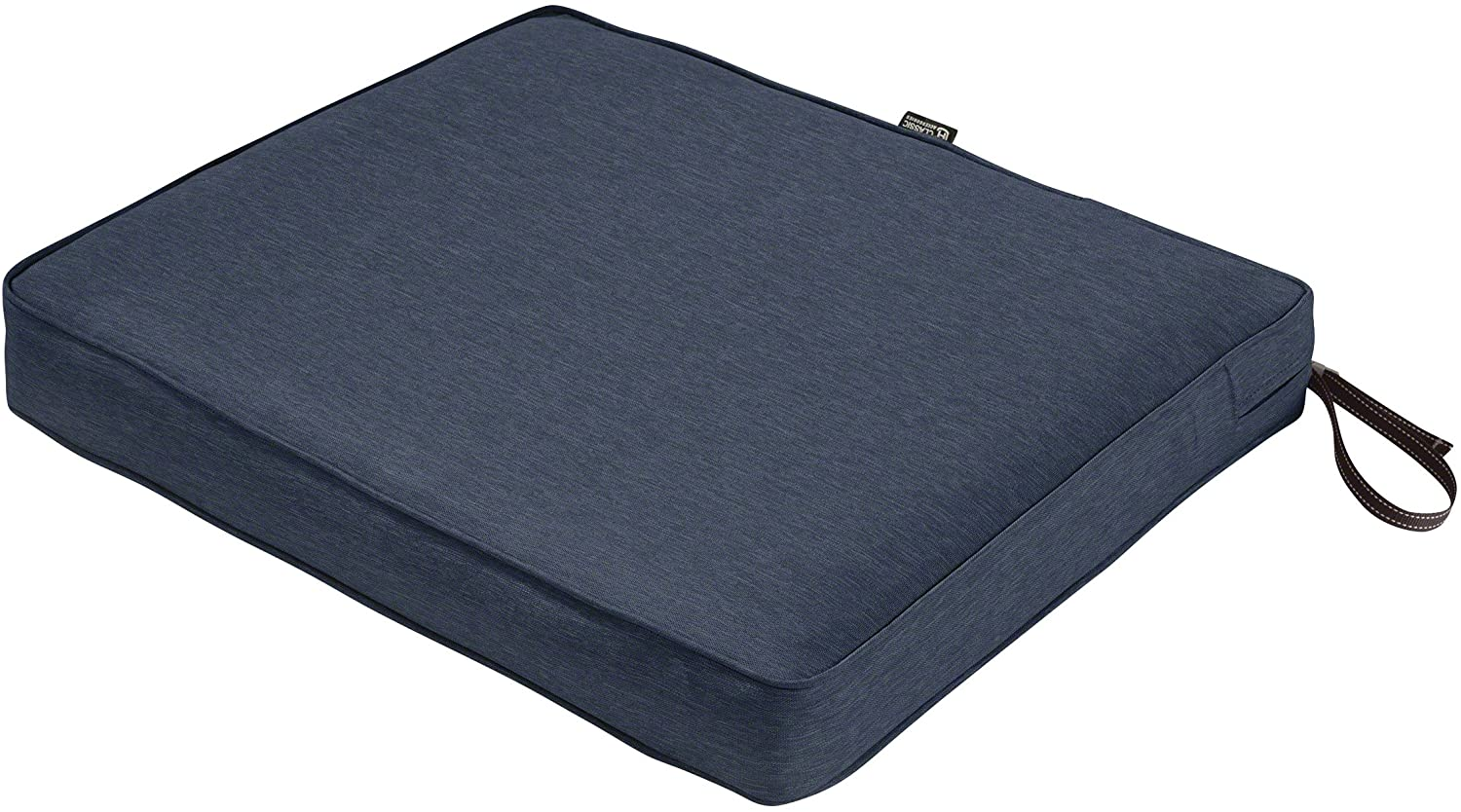 Classic Accessories Montlake Water-Resistant 21 x 19 x 3 Inch Rectangle Outdoor Seat Cushion, Patio Furniture Chair Cushion, Heather Indigo Blue