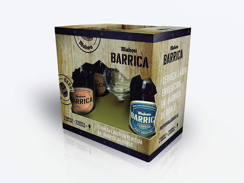 Mahou Barrica - Estuche de 4 cervezas x 330 ml con copa: Amazon.es: Alimentación y bebidas