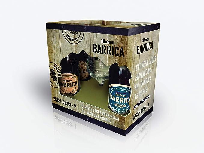 Mahou Navidad Barrica - Estuche de 4 x 330 ml con copa ...