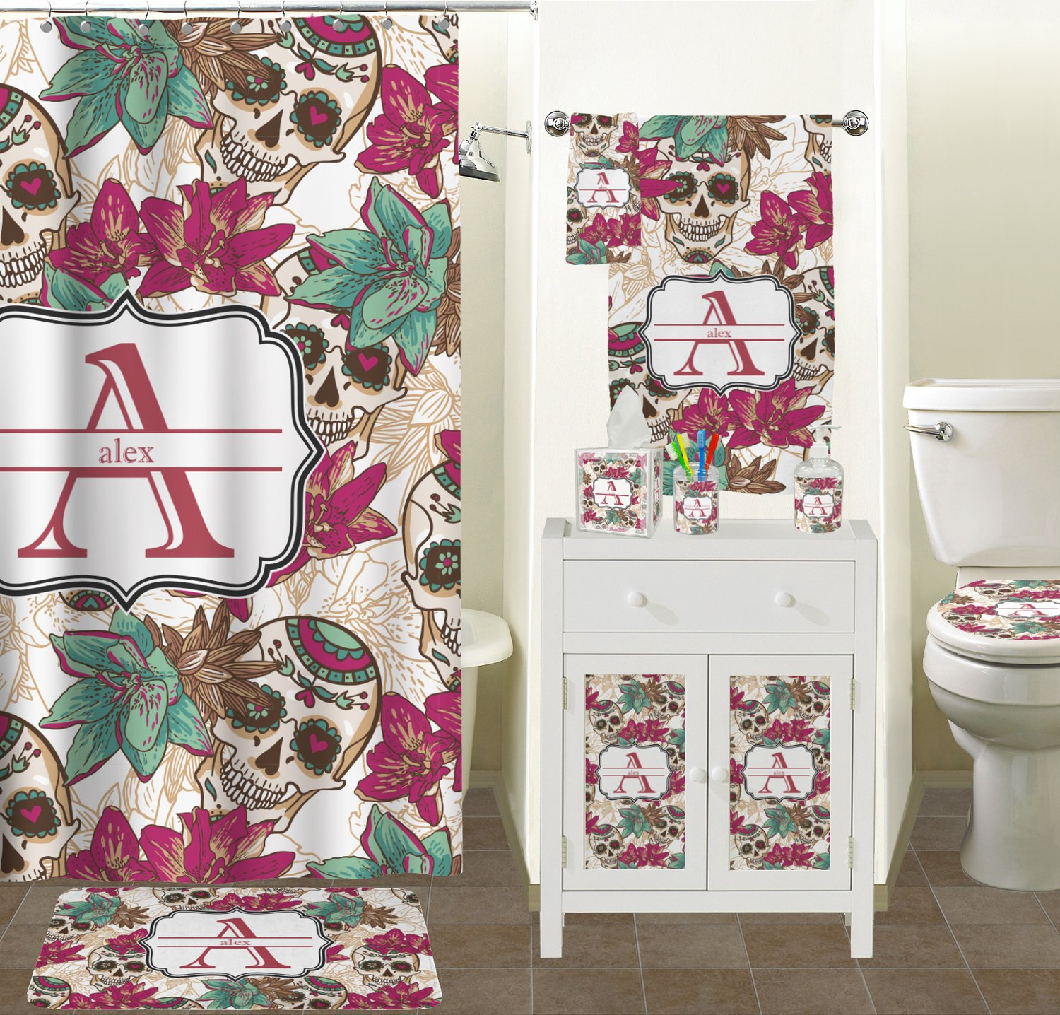 Sugar Skull Bathroom Decor Vintage Grunge Halloween Bathroom Accessories Set Personalized