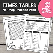 Learn Multiplication Times Tables 1-10: NO PREP Activity Worksheets (Robot Edition)