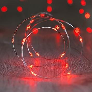Lights4fun LED Draht Micro Lichterkette, Batteriebetrieb, rot, 20er ...