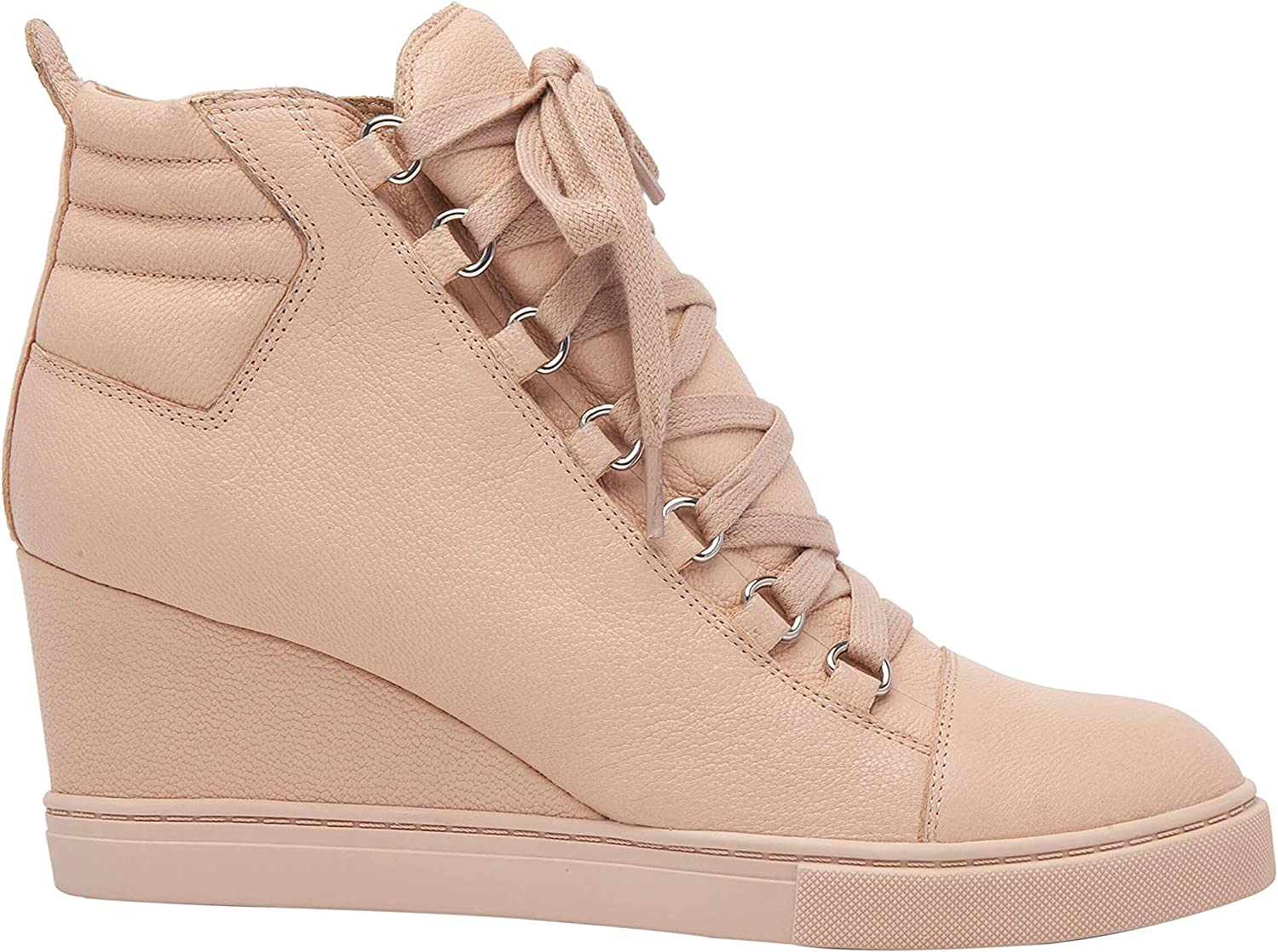 Linea Paolo - Fenton - Mid Height Leather or Suede Lace Up Sport Inspired Sneaker Wedge Blush Pebbled Leather