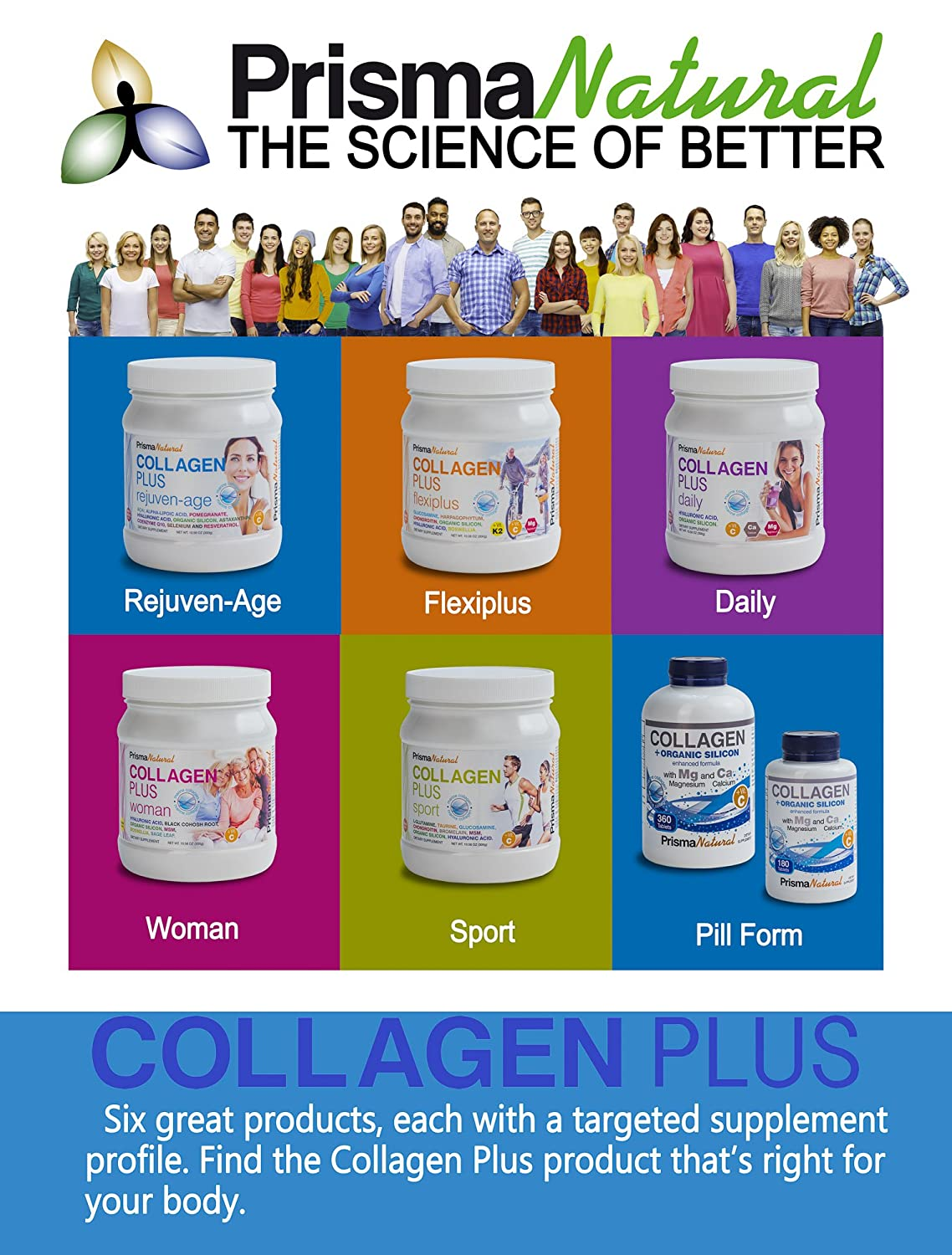 Amazon.com: Prisma Natural Daily Collagen +Organic Silicon Supplement, 180 Tablets, Type I Marine-Based Hydrolyzed Peptides with Magnesium, Hyaluronic Acid, ...