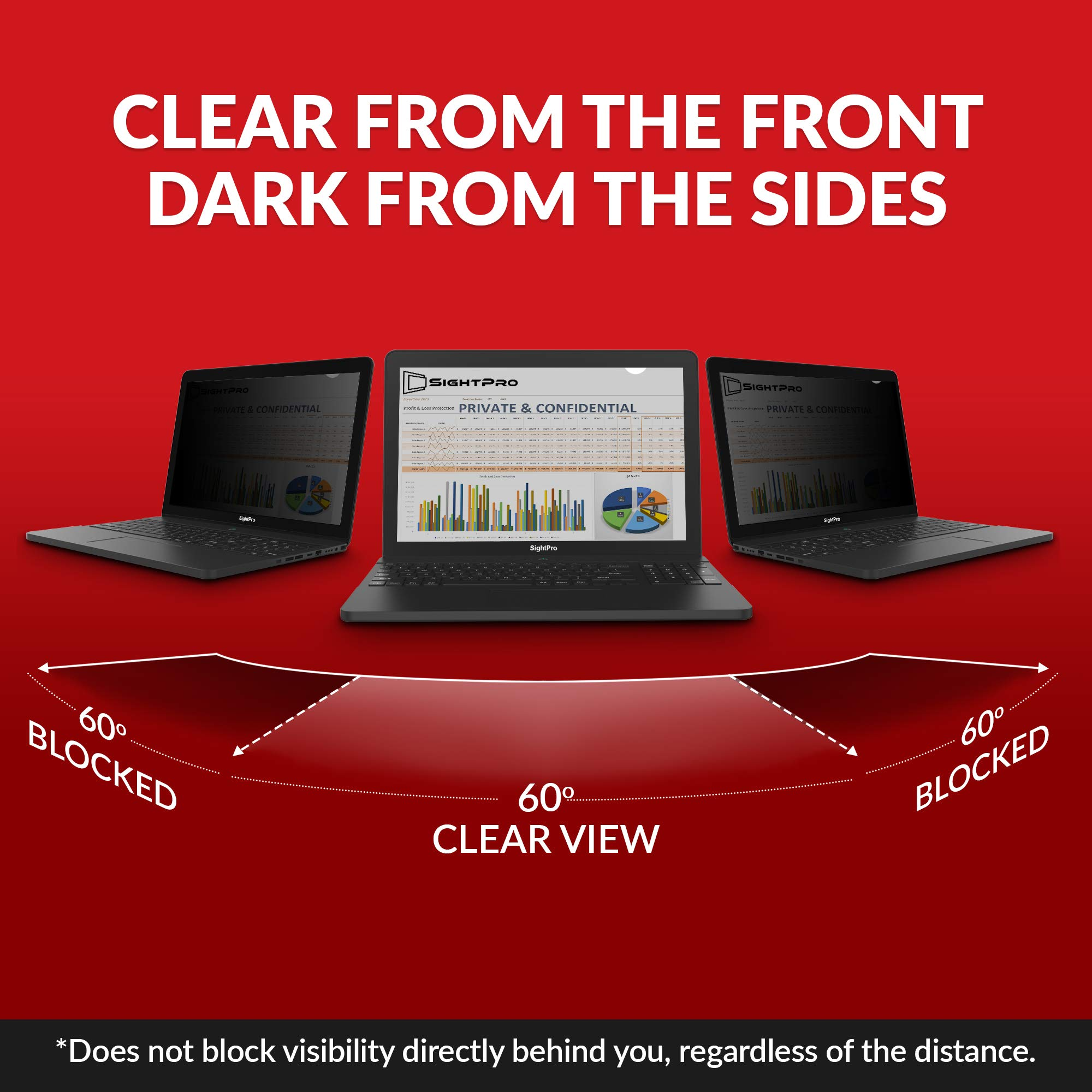SightPro 12.5 inch Laptop Privacy Screen Filter (Black) - Privacy Protector for 12.5'' 16:9 Widescreen Computer Monitor by SightPro (Image #4)