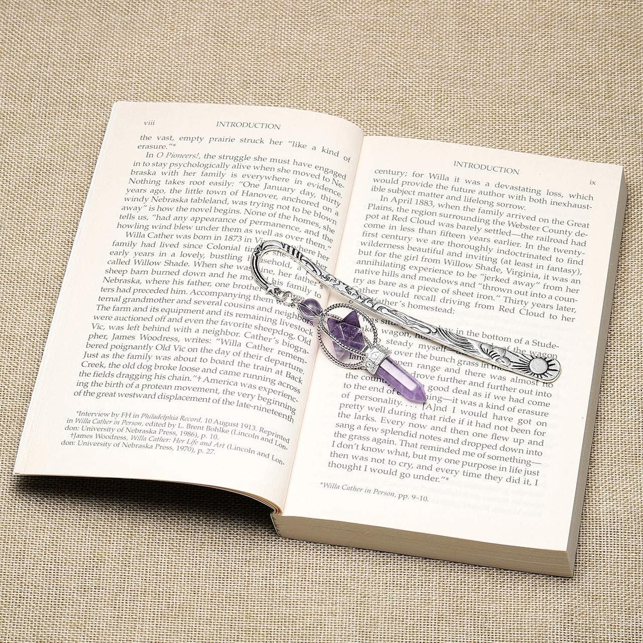 CrystalTears 3x Edelsteine Lesezeichen Amethyst Rosenquarz Bergkristall Quarz Merkaba Anh/änger handgefertigt Metall Bookmark Buch Zubeh/ör