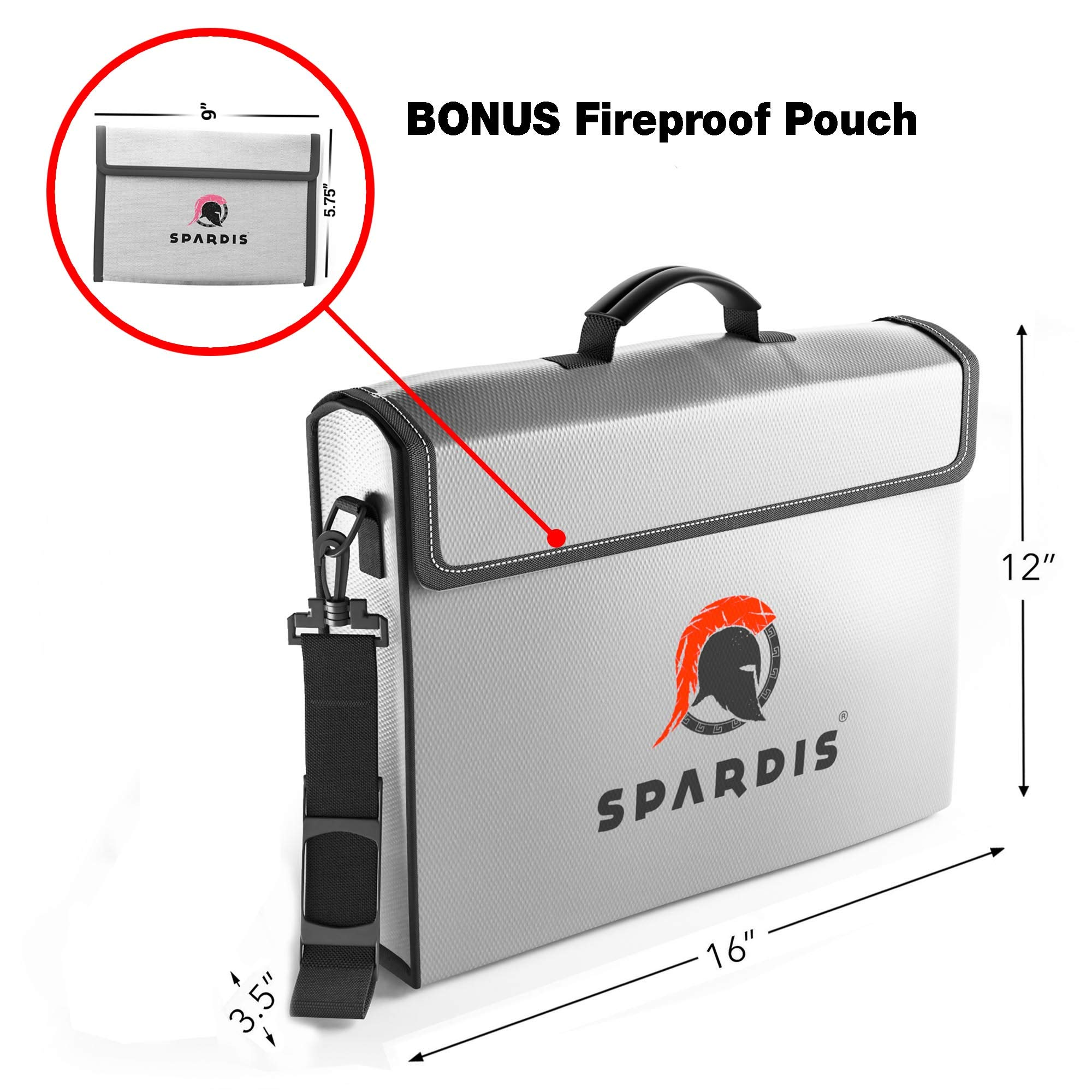 Spardis XXL (16'' x 12'' x 3.5'') Fireproof Document Safe Bag with Locking Zipper - Heat Resistant to 2100 F Degrees with Dual Layer Silicone Coated Fiberglass and Heat Blocking Aluminum by Spardis