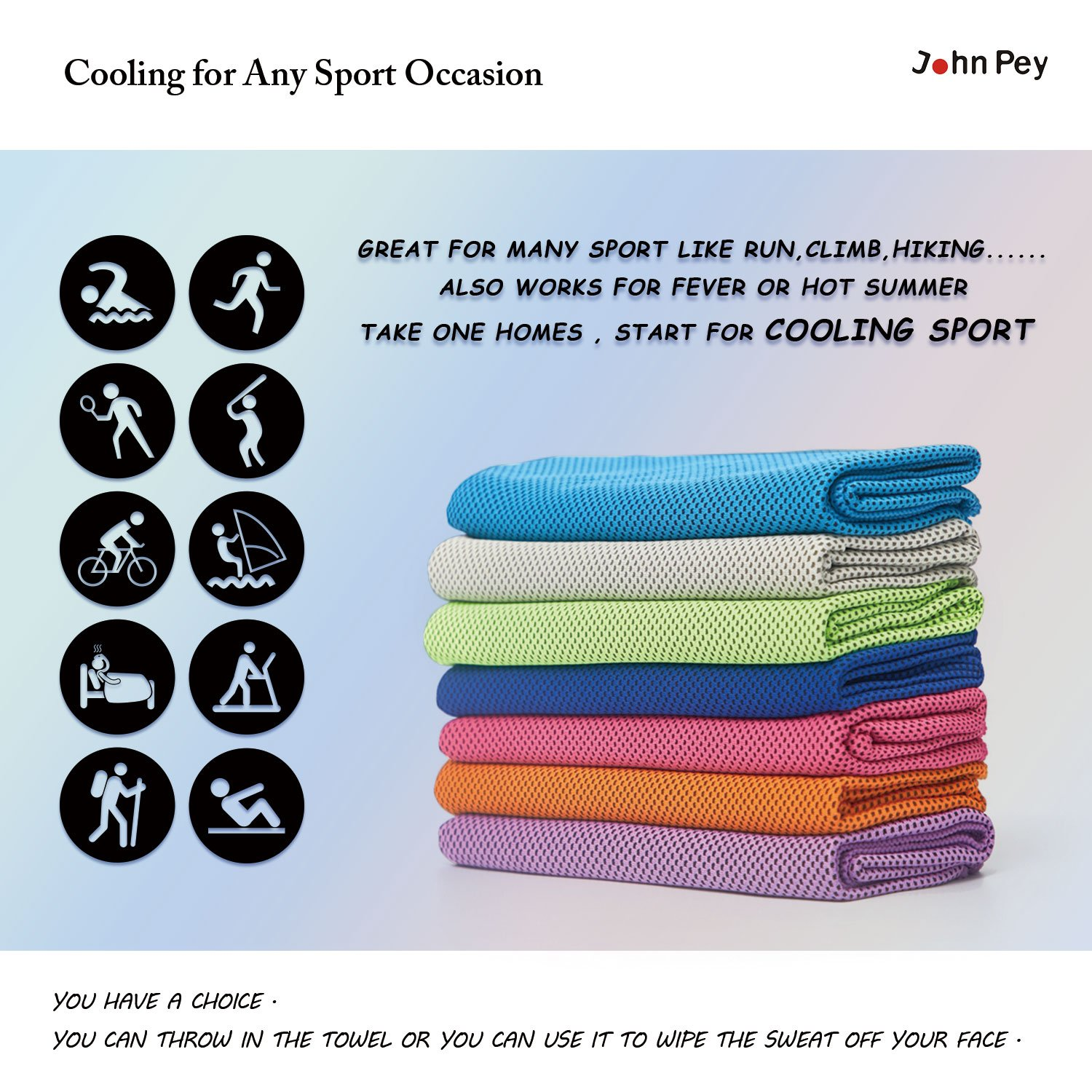 JohnPey Cooling Sport Towel – (2Pack) High-Performance Personal Instant Cool Towels – General Size 12x40 inches - 10 Way to Wear for Any Sport Occasion(Beige+Orange)