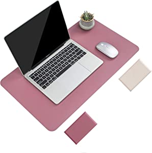 Non-Slip Desk Pad, Waterproof PVC Leather Desk Table Protector, Ultra Thin Large Mouse Pad, Easy Clean Laptop Desk Writing Mat for Office Work/Home/Decor (Dark Pink, 23.6