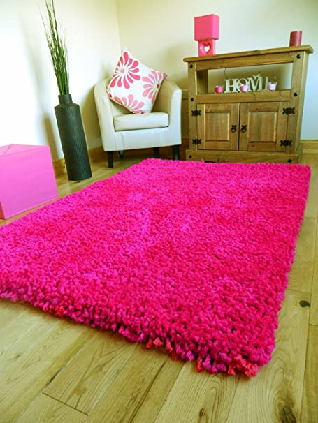 Fantastic BRIGHT HOT PINK EXTRA THICK HEAVY CHUNKY 6CM PILE SOFT LUXURIOUS  WF42
