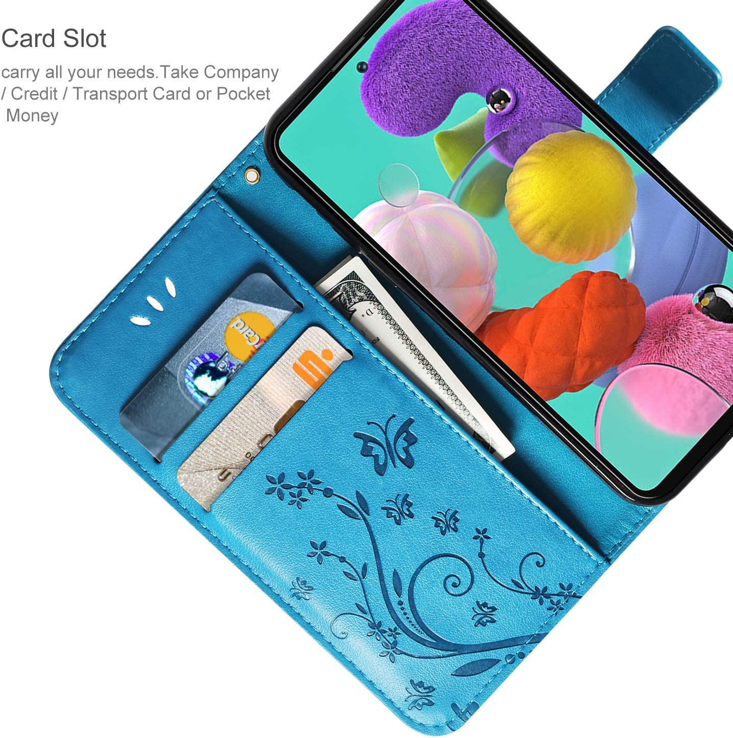AROYI Huawei P Smart 2020 Case Huawei P Smart 2020 Wallet Case PU Leather Wallet with Card Slots Stand Magnetic Clasp Scratchproof Bookstyle Case for Huawei P Smart 2020 Blue