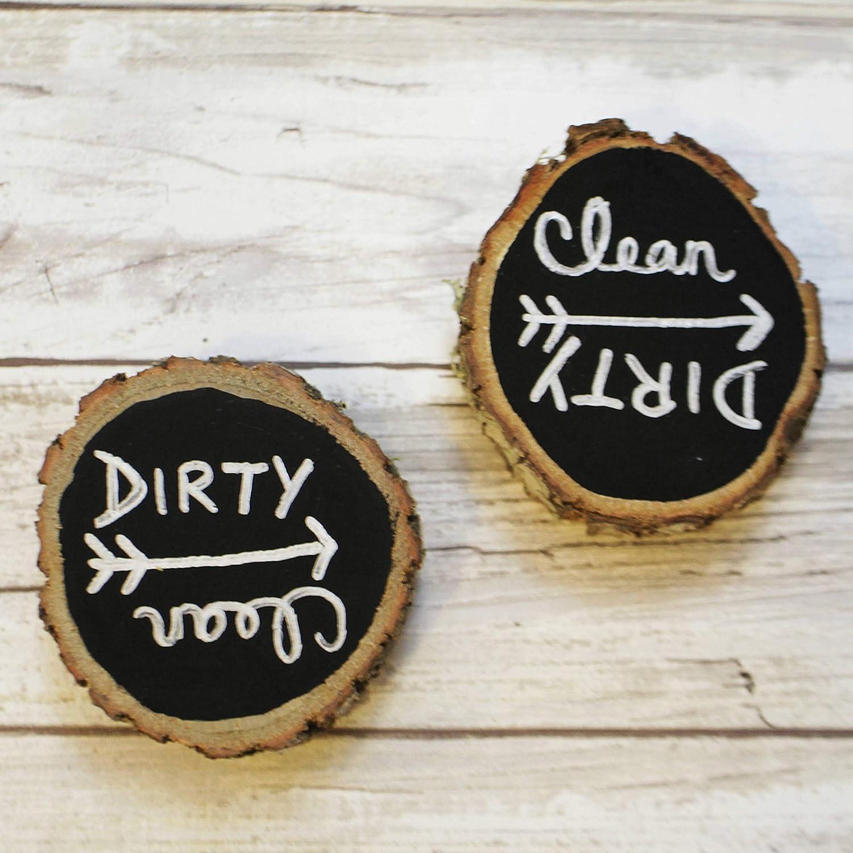 Dishwasher Clean Dirty Magnet, Wood Slice, Rustic Wood