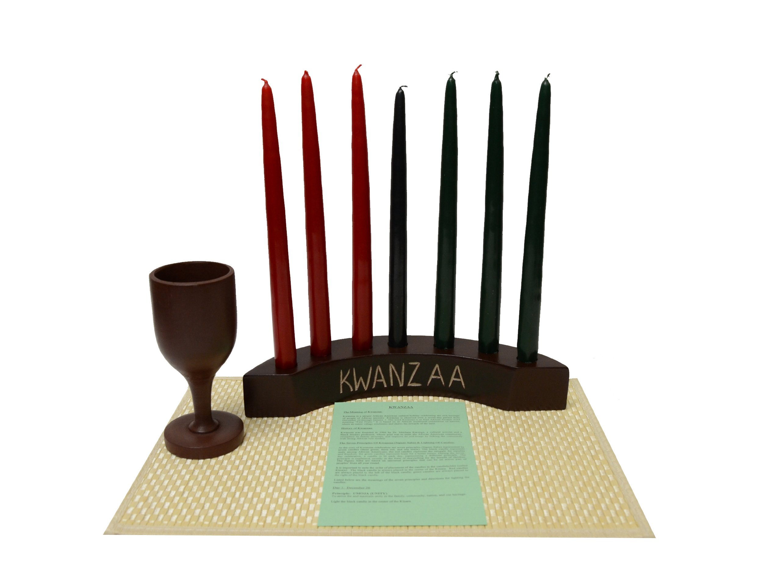 Kwanzaa Arc Candleholder & Celebration Set (Brown) - Made in Ghana by African Heritage Collection