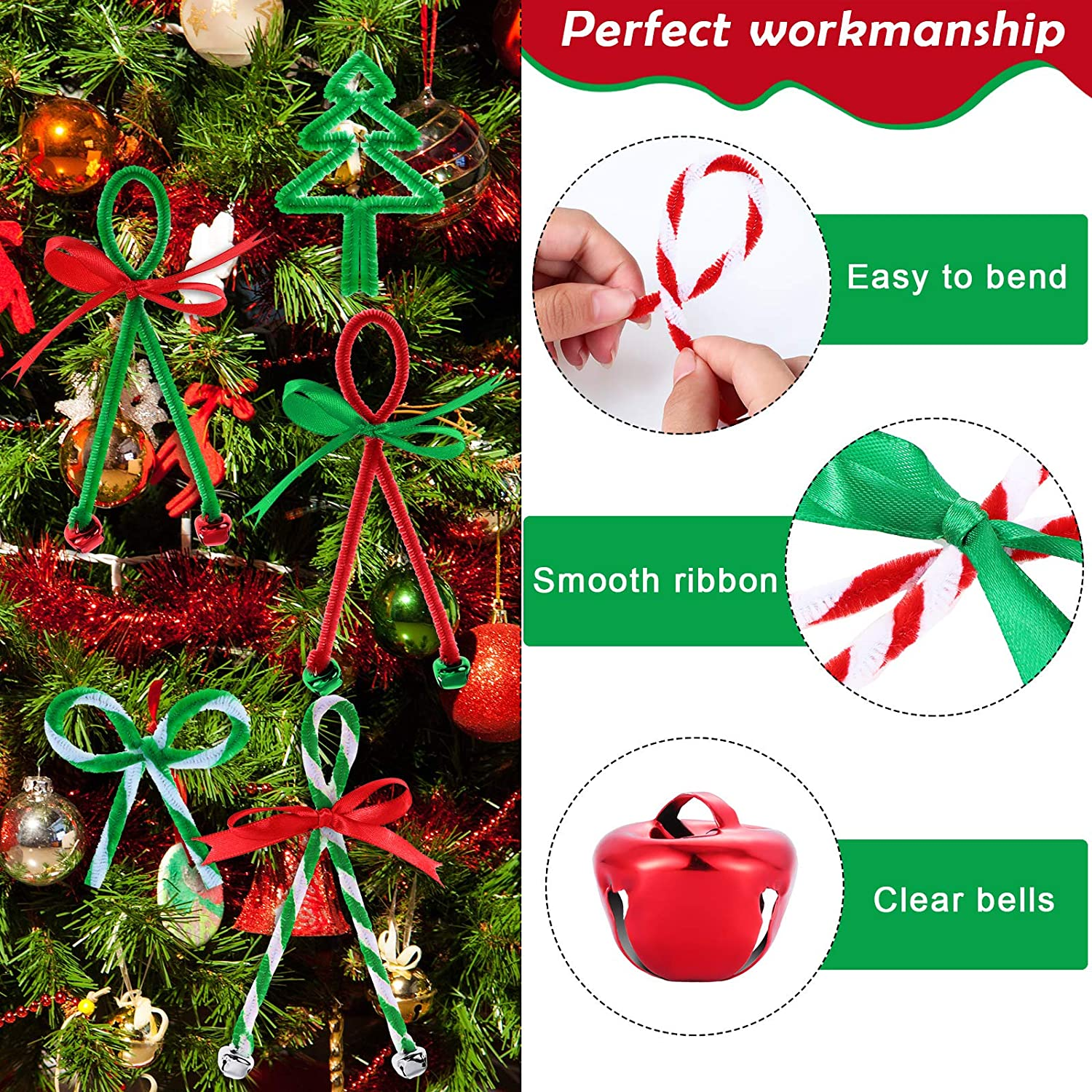 200 Colorful Christmas Jingling Bell 302 Pieces Christmas Jingling Bell Wreath Ornament Craft Kit Includes 100 Chenille Stems Craft Pipe Cleaner Decoration 2 Rolls 25 Yard Ribbon for Creative Craft