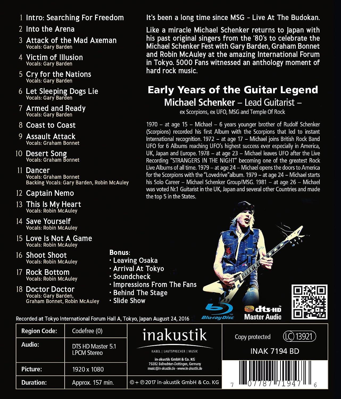 Michael Schenker - Fest-Live Tokyo International Forum Hall A Blu-ray Reino Unido: Amazon.es: Michael Schenker, Gary Barden, Graham Bonnet, Robin McAuley, ...