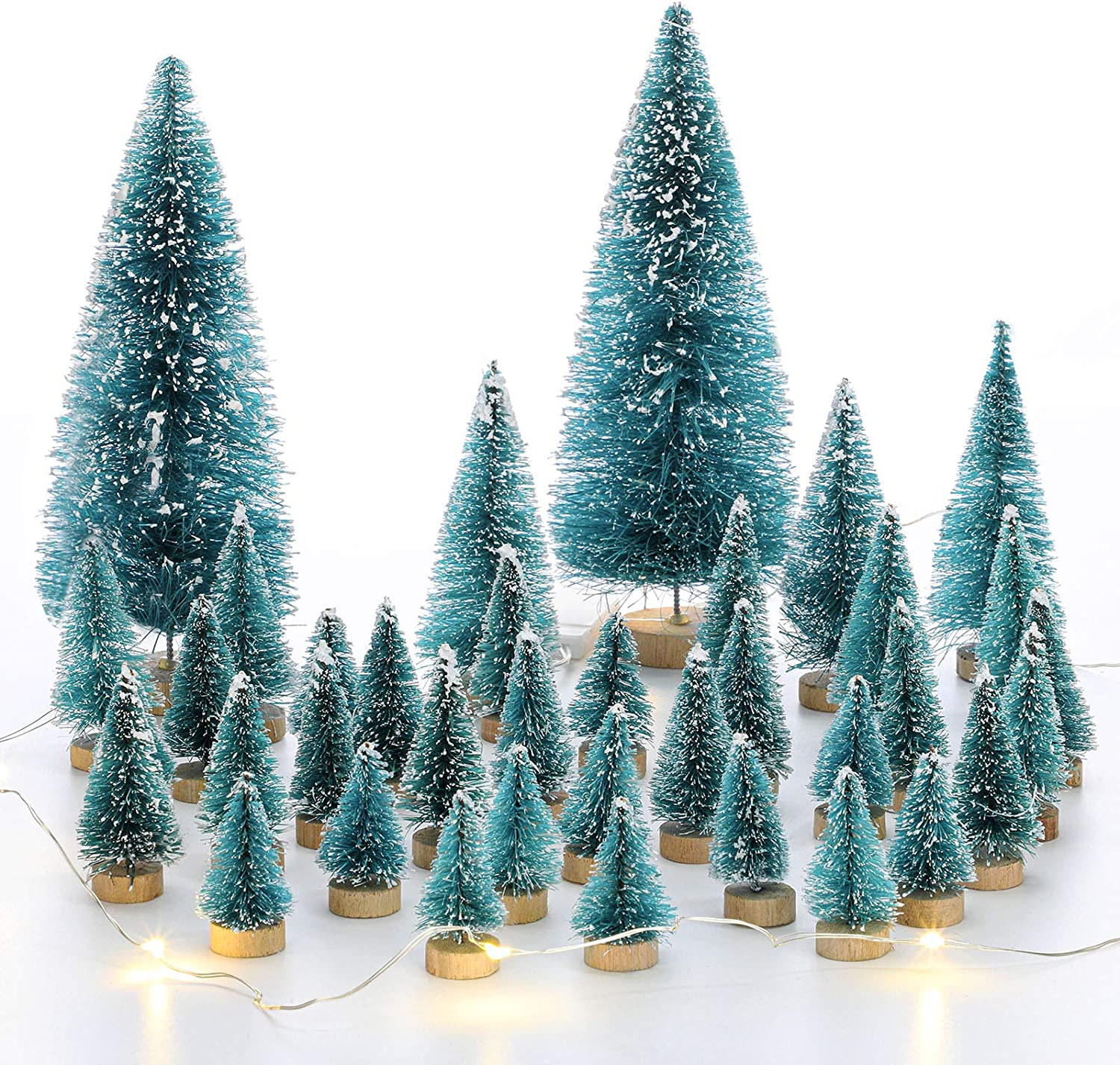 46 Pieces Mini Christmas Trees Artificial Mini Sisal Pine Snow Frost Trees Wood Base Green Bottle Brush Trees with Xmas Tree Light for Christmas DIY Craft Party Decoration