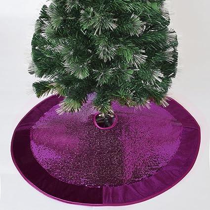 gireshome 50 purple sparkle glitter sequin with velvet border christmas tree skirt xmas tree decoration