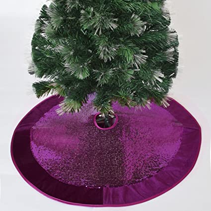"Gireshome 50"" Purple Sparkle Glitter sequin with velvet Border Christmas  tree skirt XMAS Tree Decoration - Amazon.com: Gireshome 50"