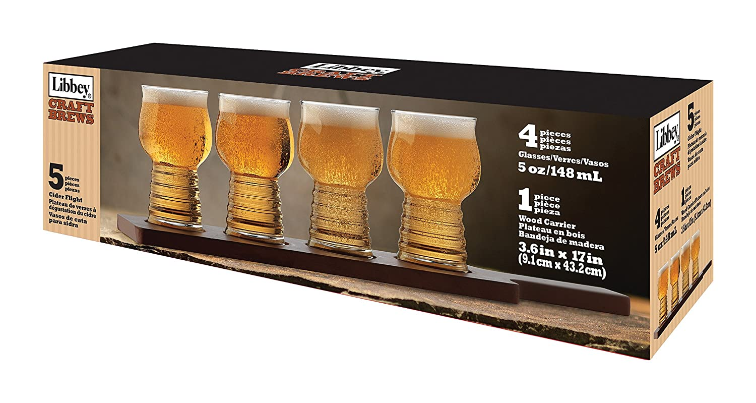 Amazon.com | Libbey 5 Piece Craft Brews Hard Cider Flight Set, Clear: Beer Glasses