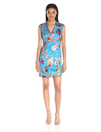 e5c9d7d71759 Betsey Johnson Women's Asian Floral Scuba Dress, Blue/Multi 8 at ...