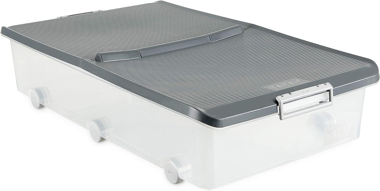 Tatay 1151122 Caja de Almacenamiento Multiusos Bajo Cama con Tapa y Ruedas, 63 l de Capacidad, Plástico Polipropileno Libre de BPA, Transparente con Tapa Gris, 45 x 78 x 18 cm