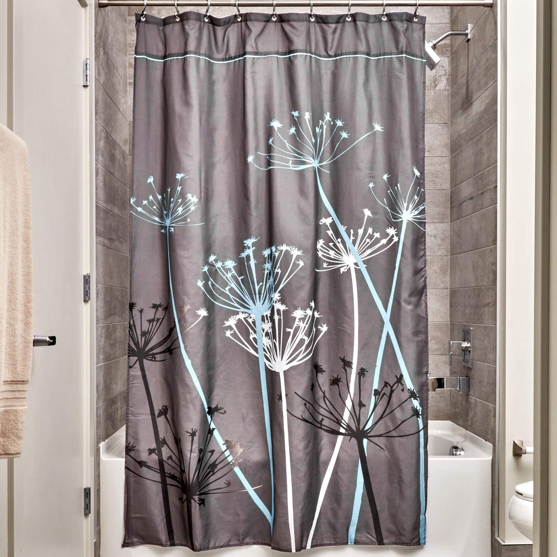 Gray//Blue Long 72 x 84-Inch InterDesign Thistle Fabric Shower Curtain