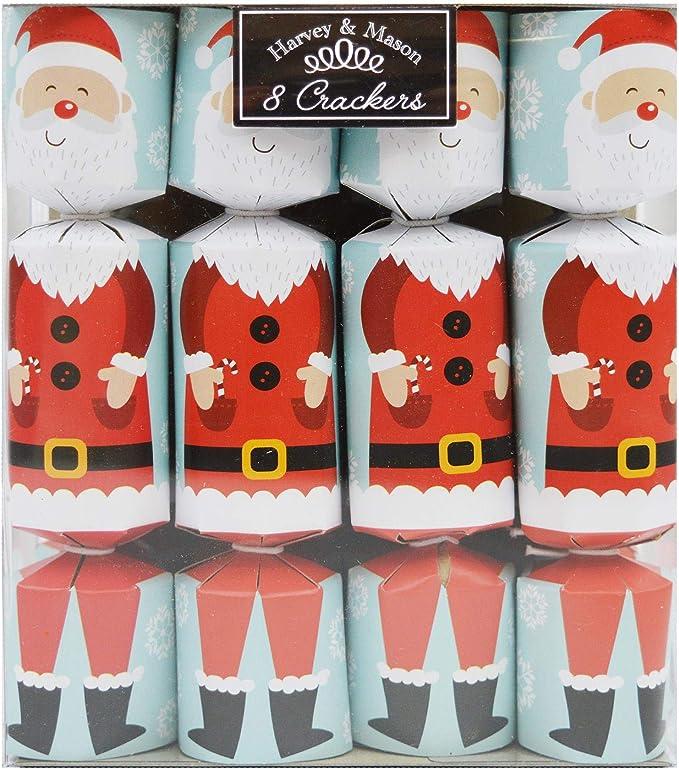 8 Mini Christmas Crackers Santa Xmas Gift Pendant Jewellery Novelty Hat Blue