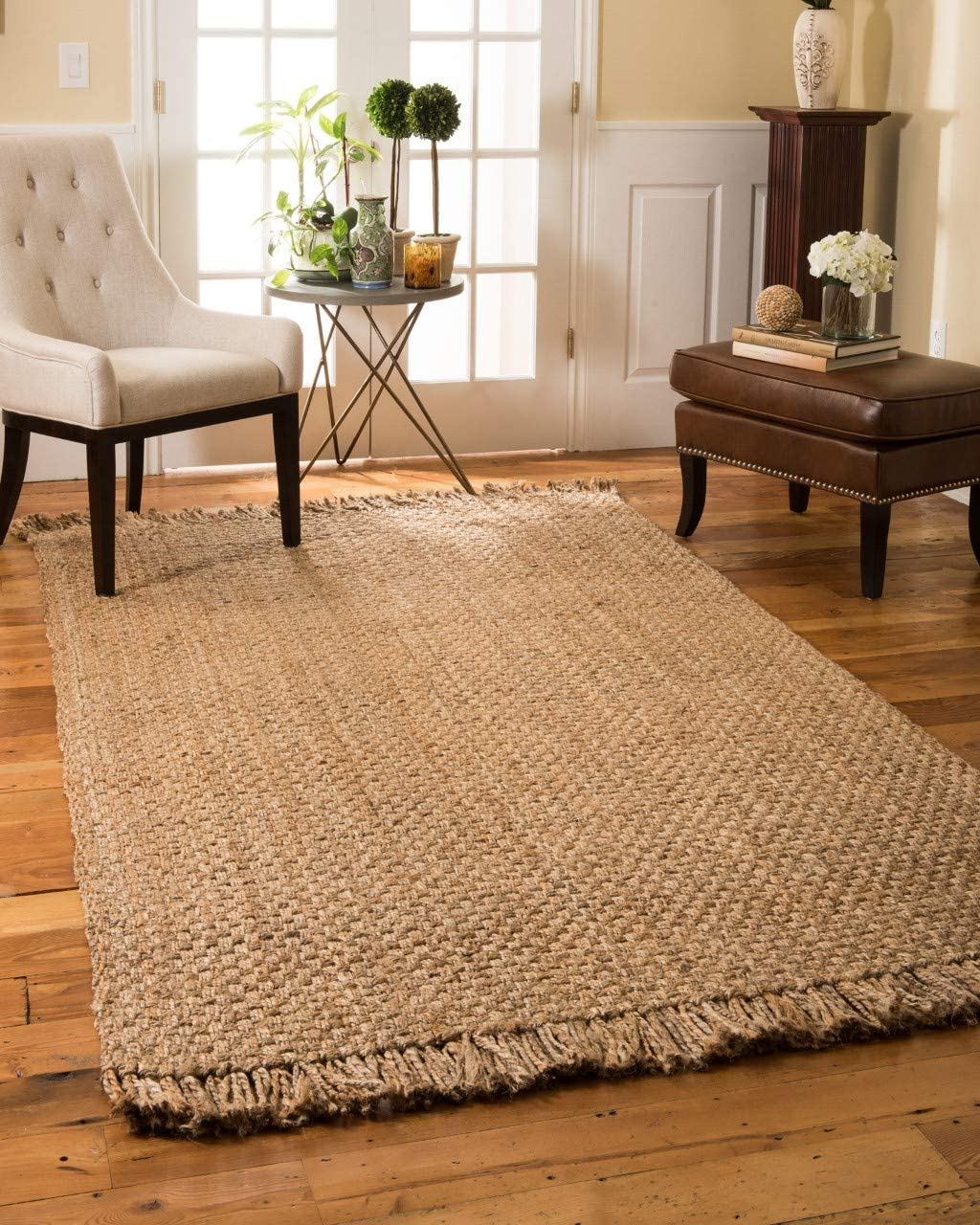 Natural Area Rugs Natural Fiber, Handmade Reversible Basketweave Chunky Paloma Jute Rug 8 x 10 Beige