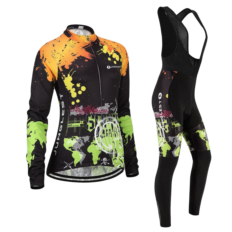 Cycling Jersey Setレディース長袖( S ~ 5 X L、オプション:よだれかけ、3dパッド) n215 B01BX2D80W (2.8cm 3D pad)(Bust 38-40inchs)|タイプ:セット(フリース&ブラックビブ) タイプ:セット(フリース&ブラックビブ) (2.8cm 3D pad)(Bust 38-40inchs)