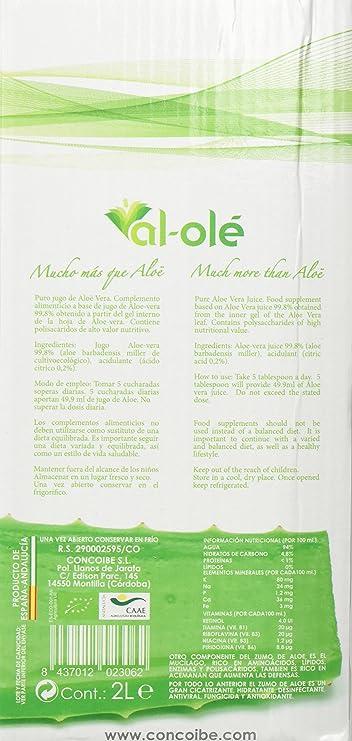 Al-Olé Zumo de Aloe Vera Filtrado Ecológico - 2000 ml: Amazon.es: Alimentación y bebidas