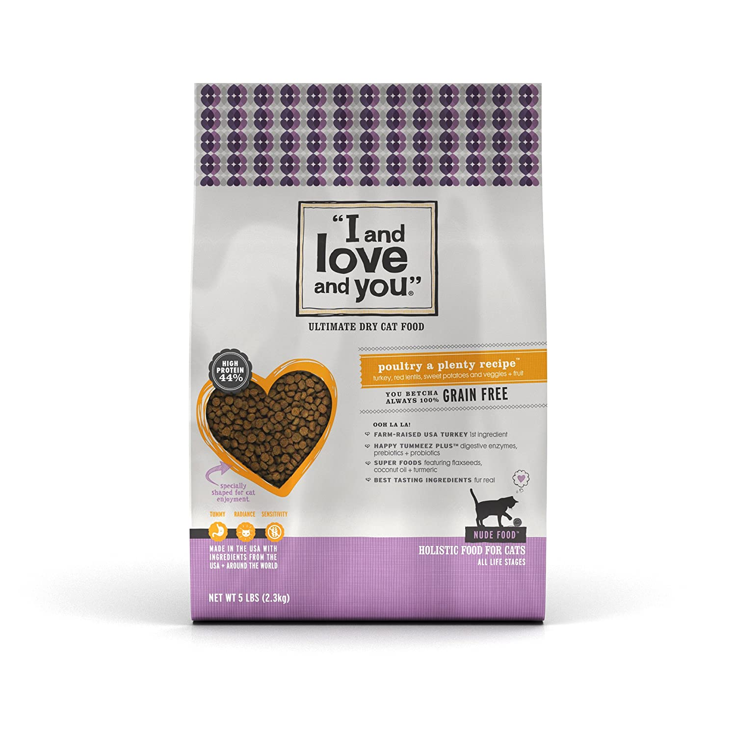 """I and love and you"" Nude Food Poultry A Plenty Grain Free Dry Cat Food, 5 LB"