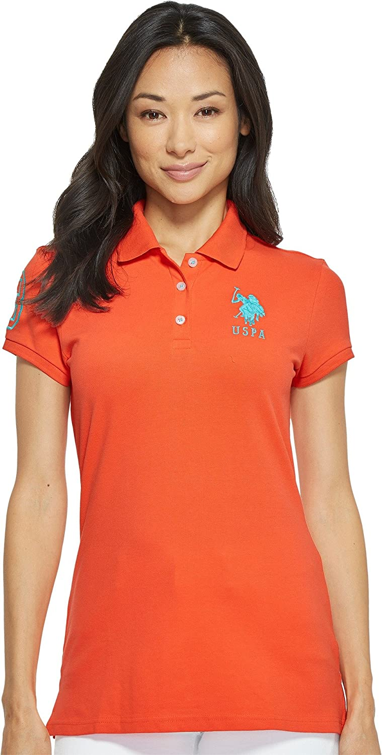 Womens Neon Logos Short Sleeve Polo Shirt U.S Polo Assn