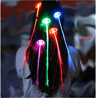 Led light up hair extensions fibre optic hair clip amazon ultra 1 x multi coloured colour changing light up fibre optic hair clip clip in red pmusecretfo Gallery