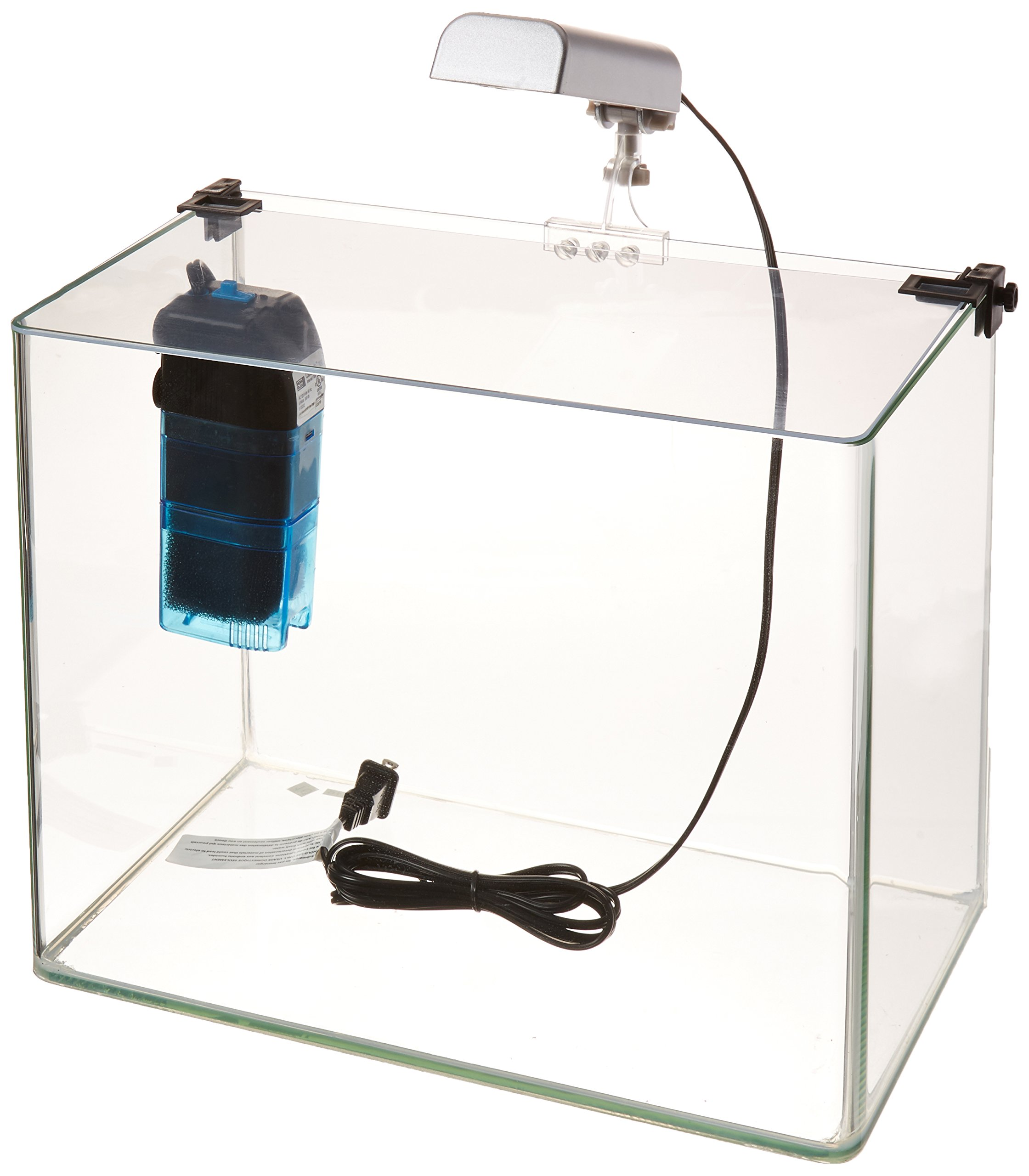 Penn-Plax Curved Corner Glass Aquarium Kit, Filter, LED Light, Float Glass for Maximum Viewing 5 Gallon by Penn-Plax