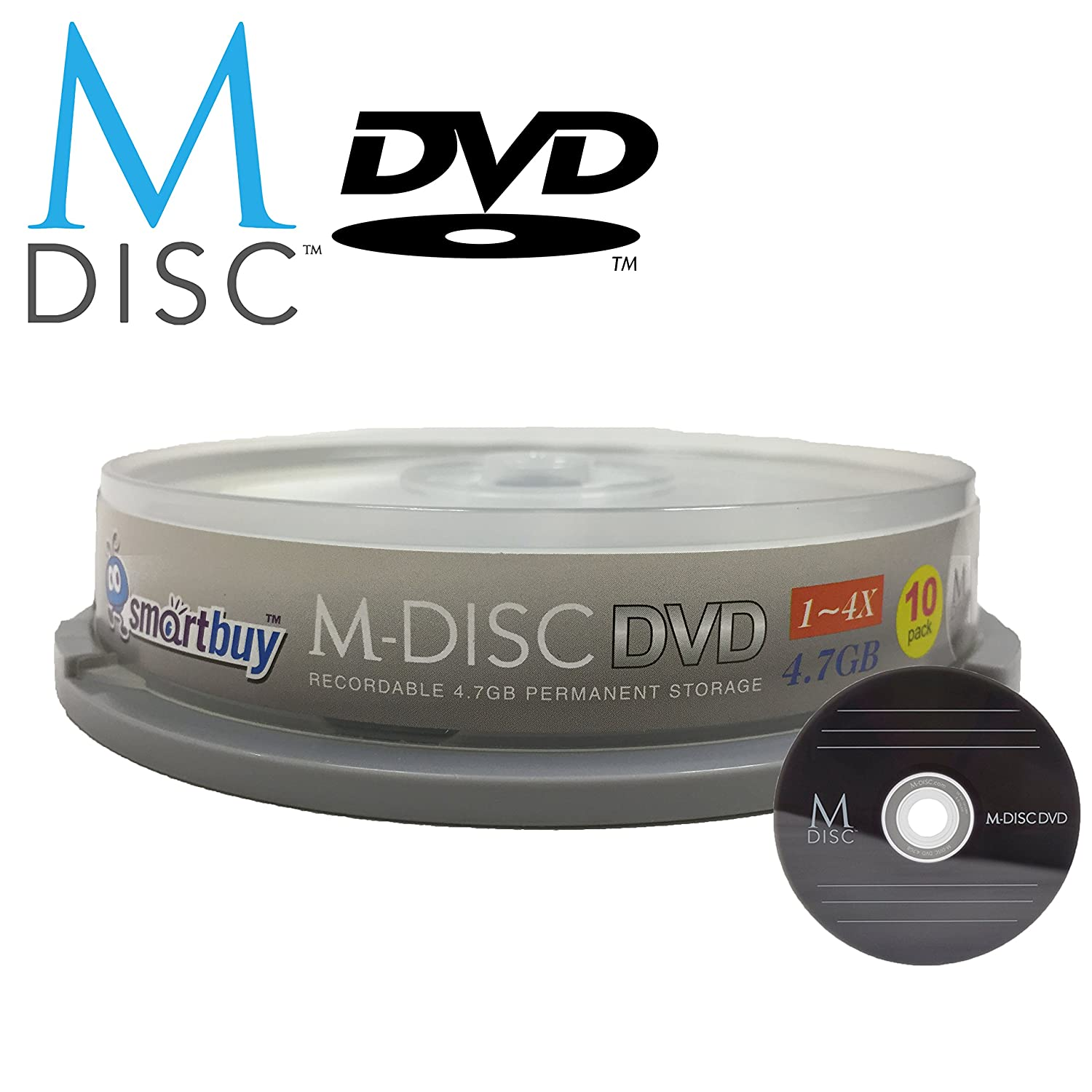 10 Pack Smartbuy M-Disc DVD 4.7GB 4X HD 1000 Year Permanent Data Archival / Backup Blank Media Recordable Disc