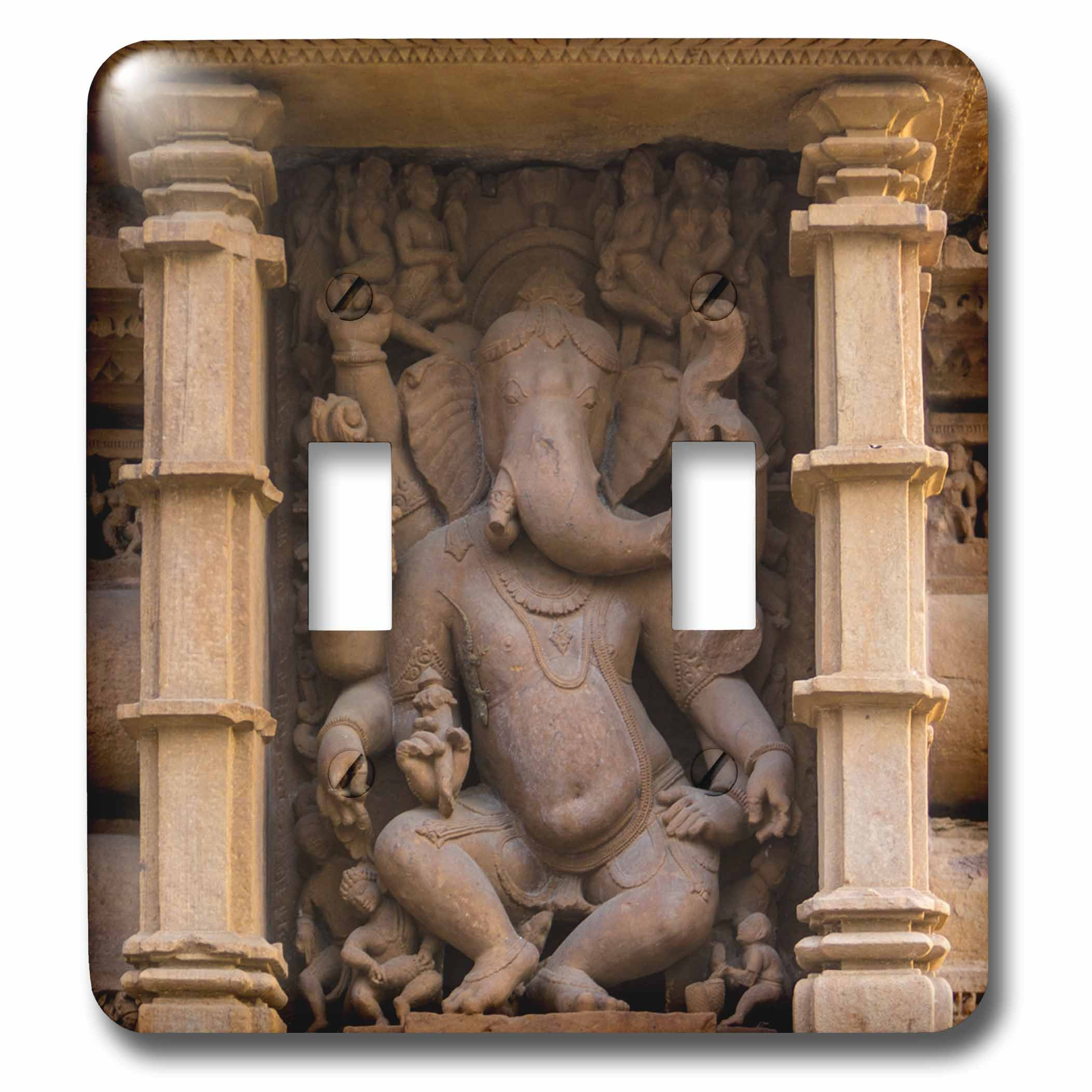 3dRose Danita Delimont - Temples - India. Hindu temples at Khajuraho, elephant deity carving. - Light Switch Covers - double toggle switch (lsp_276793_2)