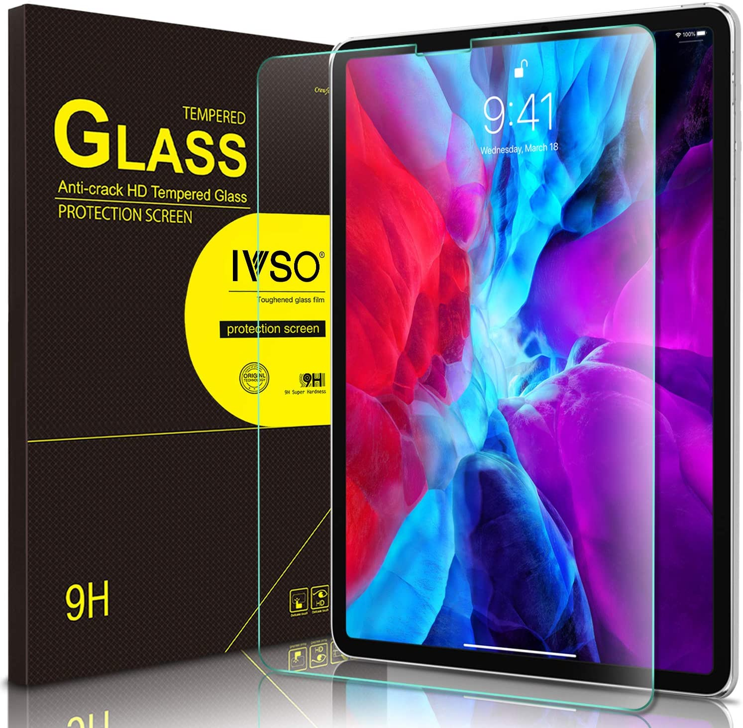 IVSO Apple New iPad Pro 12.9 2020 & 2018 Screen Protector, Scratch-Resistant No-Bubble 9H Hardness HD Clear Tempered Glass Screen Protector for Apple New iPad Pro 12.9 2020 & 2018 Tablet (Clear)