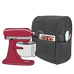 Luxja Dust Cover Compatible with 6-8 Quart KitchenAid Mixers, Cloth Cover with Pockets for KitchenAid Mixers and Extra Accessories (Compatible with All 6-8 Quart KitchenAid Mixers), Black