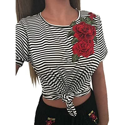 Bigood T-shirt aux Rayures Broderie Fleur Femme Pull Col Rond Manches Courtes