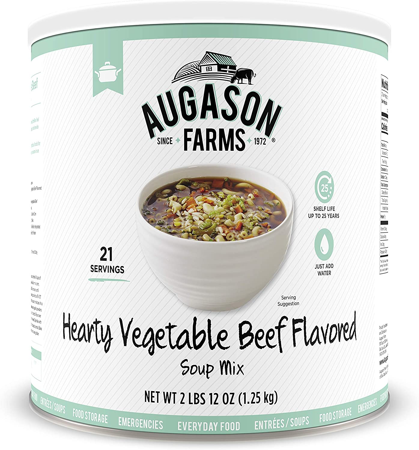 Augason Farms Hearty Vegetable Beef Flavored Soup Mix 2 lb 12 oz No. 10 Can