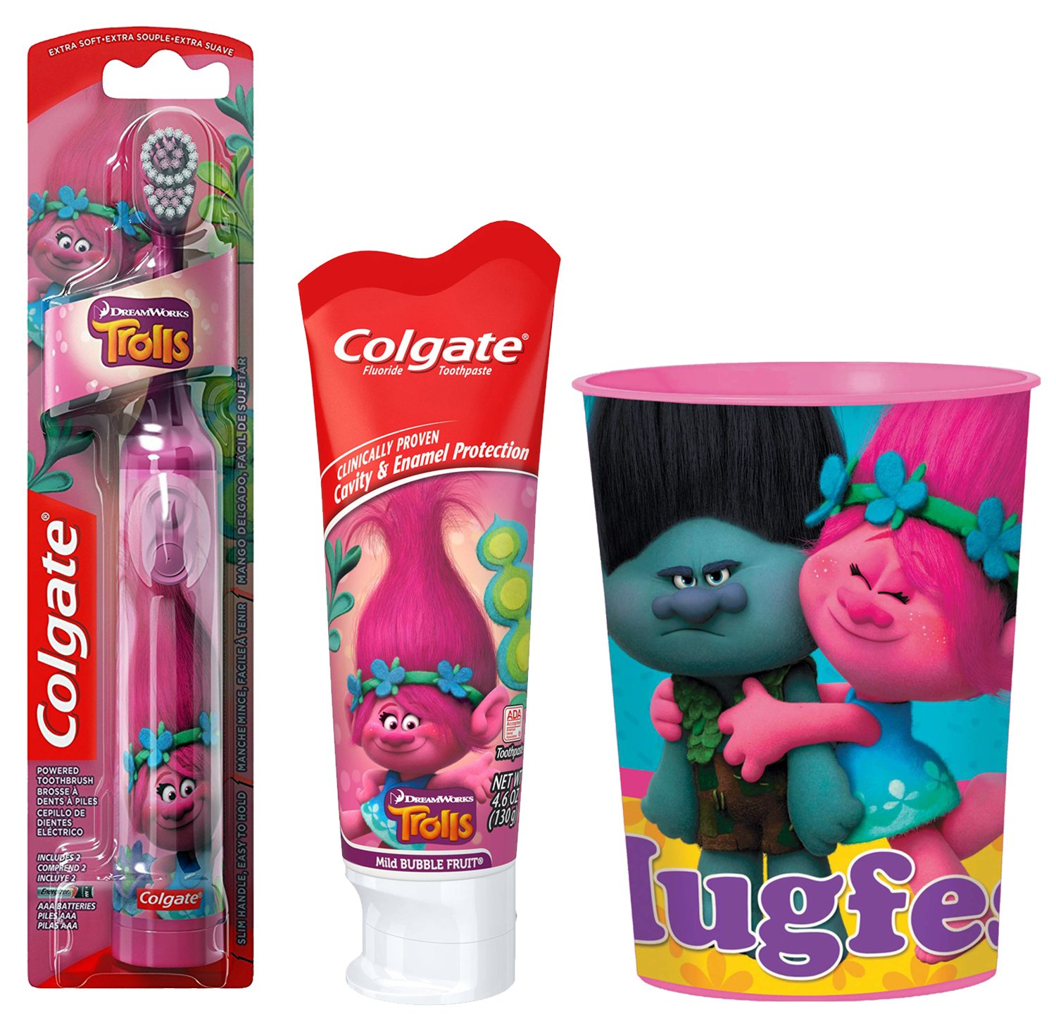 Trolls Poppy Kids Toothbrush Bundle: 3 Items - Powered Toothbrush, Mild Bubble Fruit Toothpaste, Kids' Rinse Cup