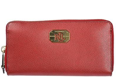 Ralph Lauren Damen Geldbörse Portemonnaie Echtleder Geldbeutel Bifold Rot d933de72a8