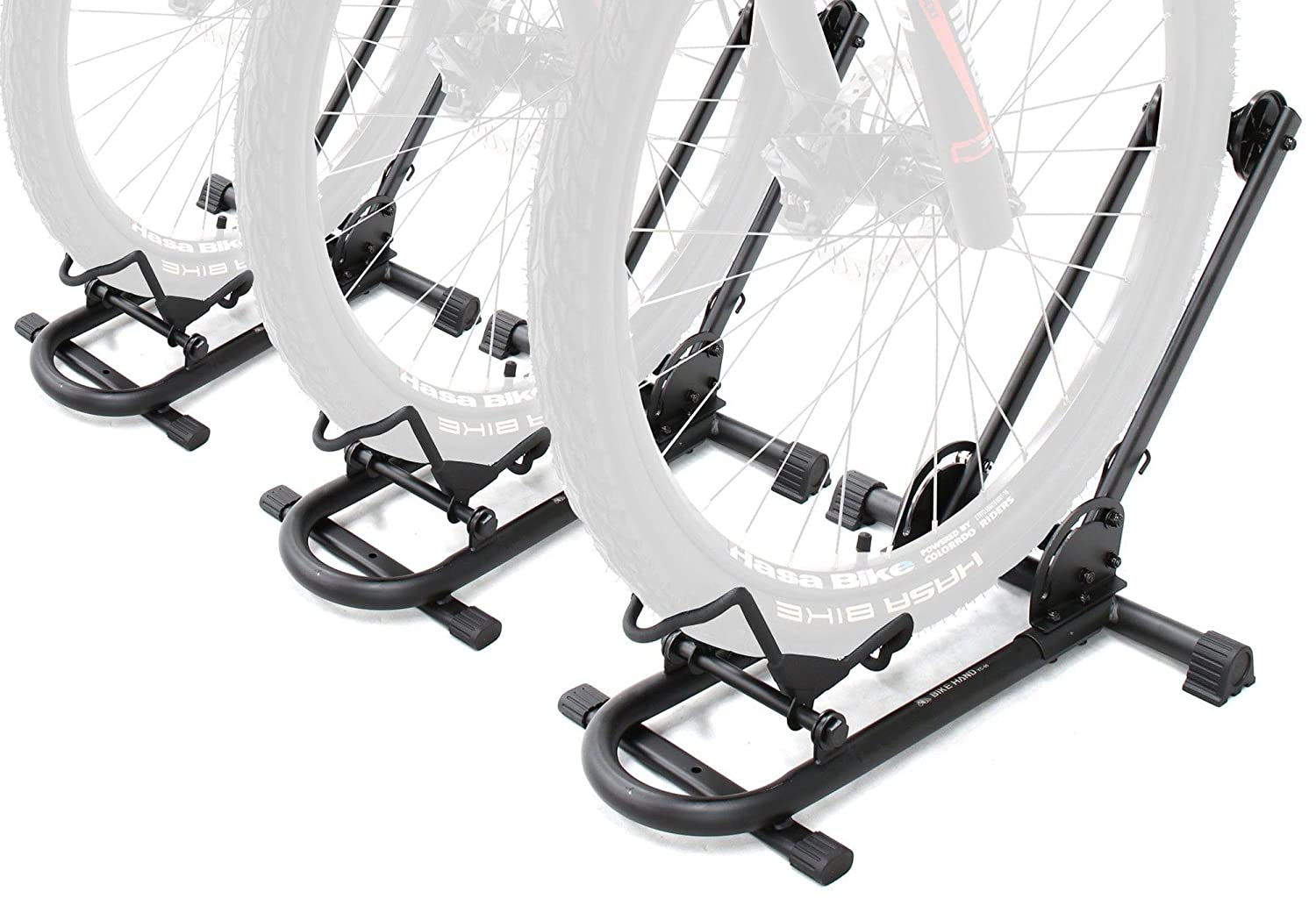 BIKEHAND Bike Floor Parking Rack Storage Stand Bicycle - Secure Easy Push In Sytem - Light Weight Foldable & Portable - Great for Road, Mountain, BMX & Kids Bikes