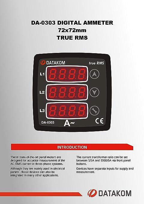 DATAKOM DA-0303 Digital Ammeter Panel (3 Phase), 170-275V power ...
