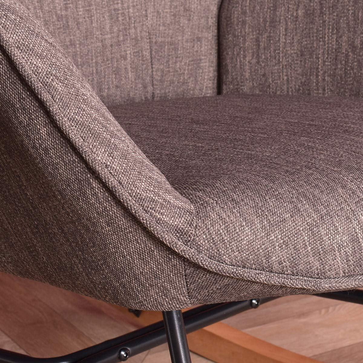 grauer Stoff HOMYCASA Schaukelstuhl Stoff Freizeit Loungesessel Ergonomische R/ückenlehne mit Metall Holzbeinen